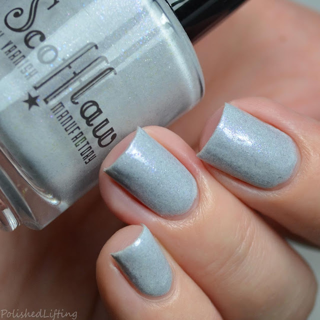 gray polish with color shifting shimmer