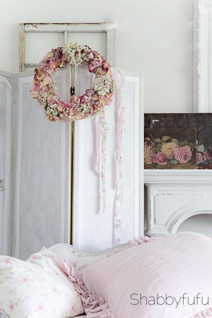 dried flower shabby chic romantic wreath