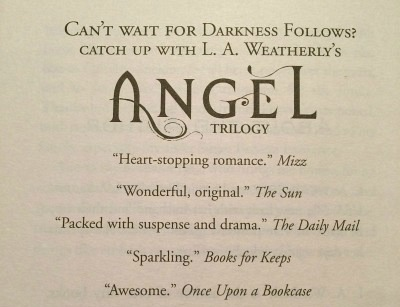 Quote in Broken Sky and Darkness Follows by L. A. Weatherly
