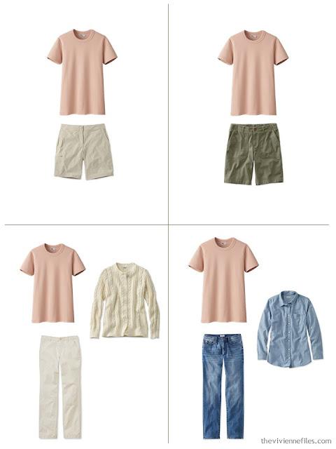 adding an apricot tee shirt to a leisure wardrobe