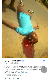 Rivers of blood: PDP agent killed