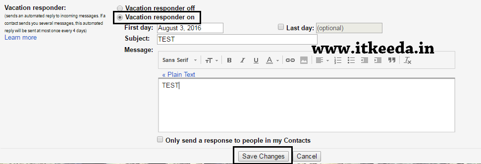 How to send Auto Reply in Gmail When Your Not In office or In Vacation 3