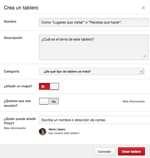 Pinterest Places Crear tablero