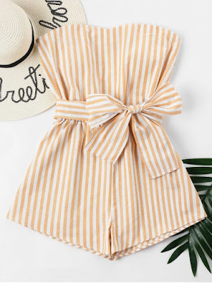 Striped Tube Romper - School Bus Yellow