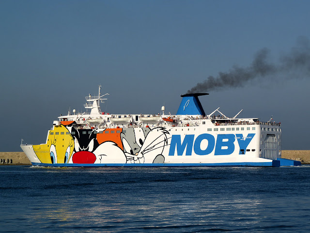 Ferry Moby Vincent, IMO 7360605, port of Livorno