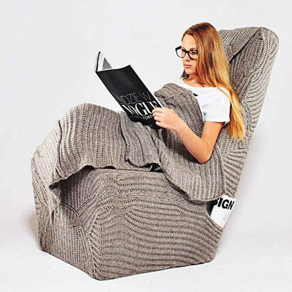 fauteuil plaid tricoté