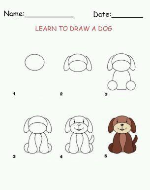 Cara menggambar anak anjing