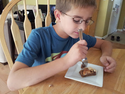 Mister Man voluntarily got a fork for his s'mores bars