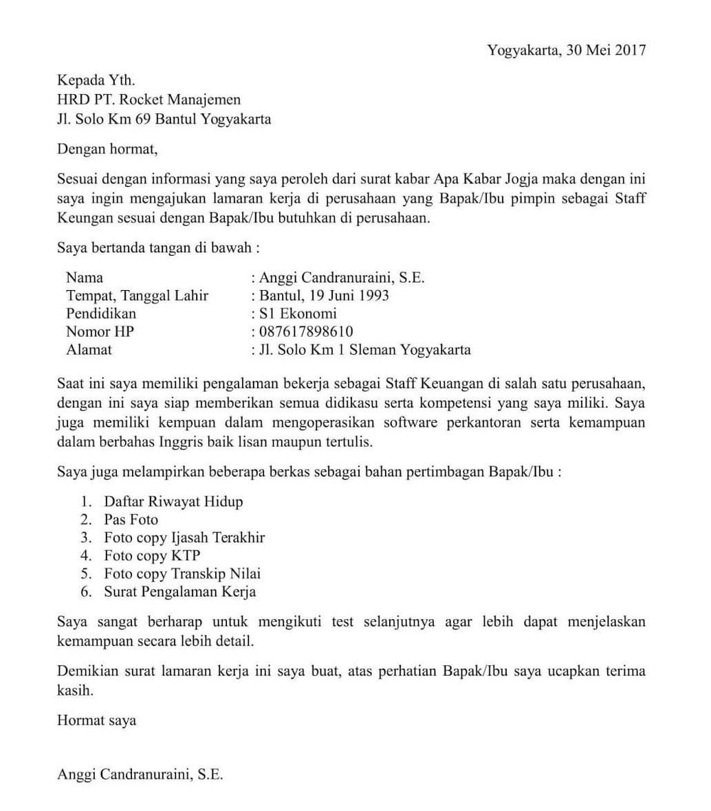 Contoh Surat Lamaran Kerja Lowongan Kerja Kalimantan Tengah