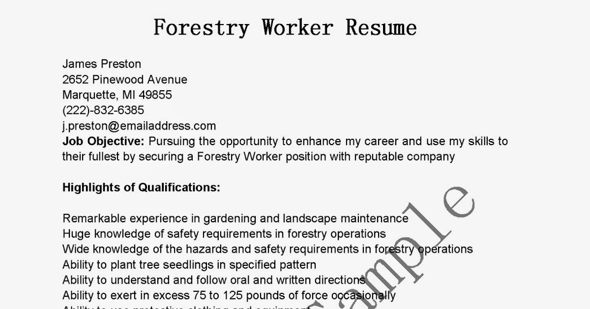 forestry resumes