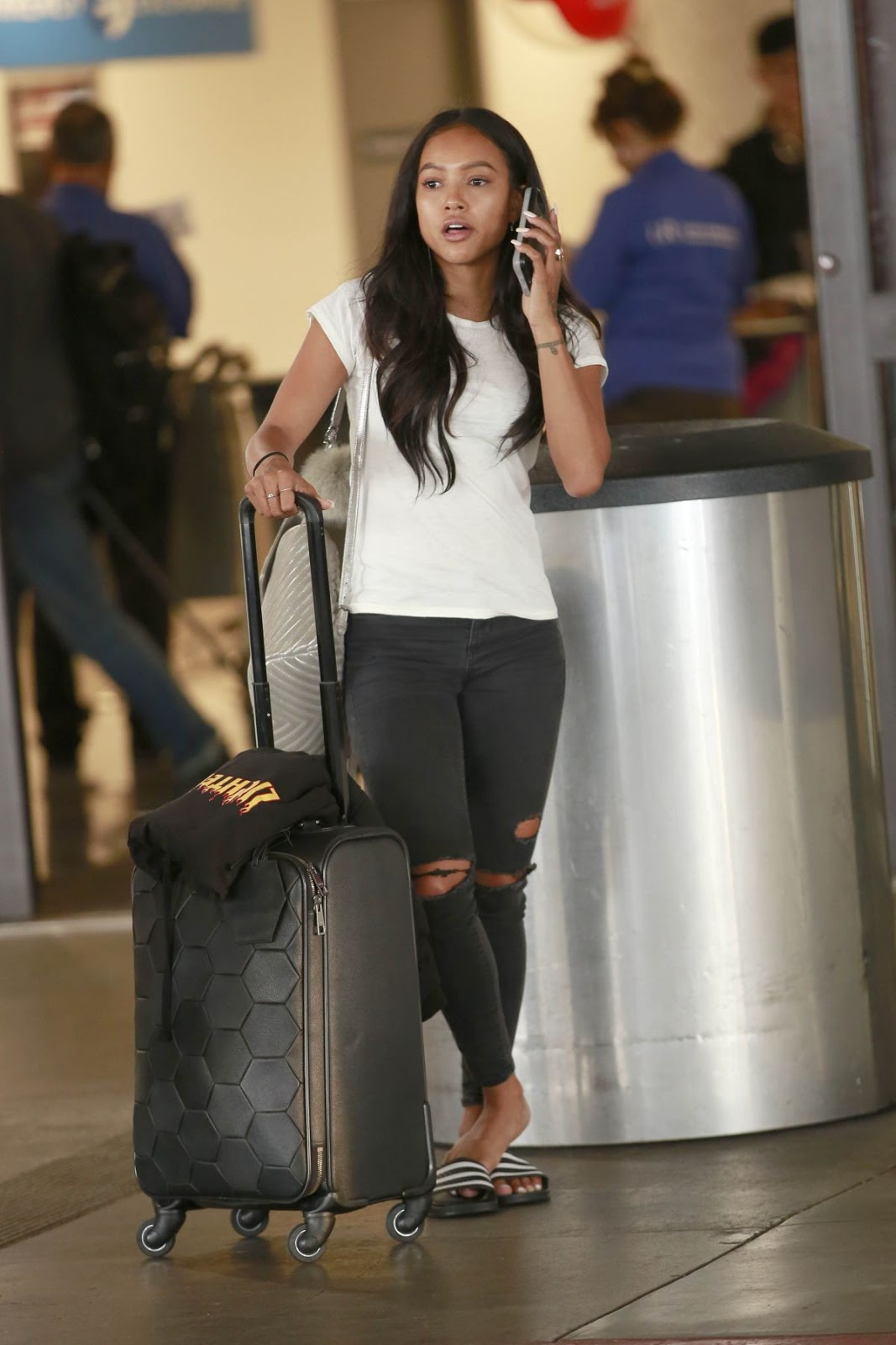 Karrueche Tran at Los Angeles International Airport