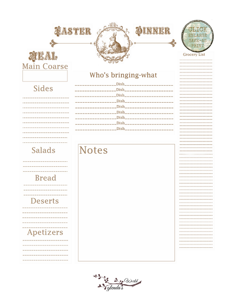 Easter Meal Planner
