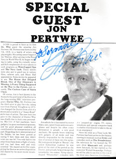 Jon Pertwee page and autograph from my 1986 I-Con program