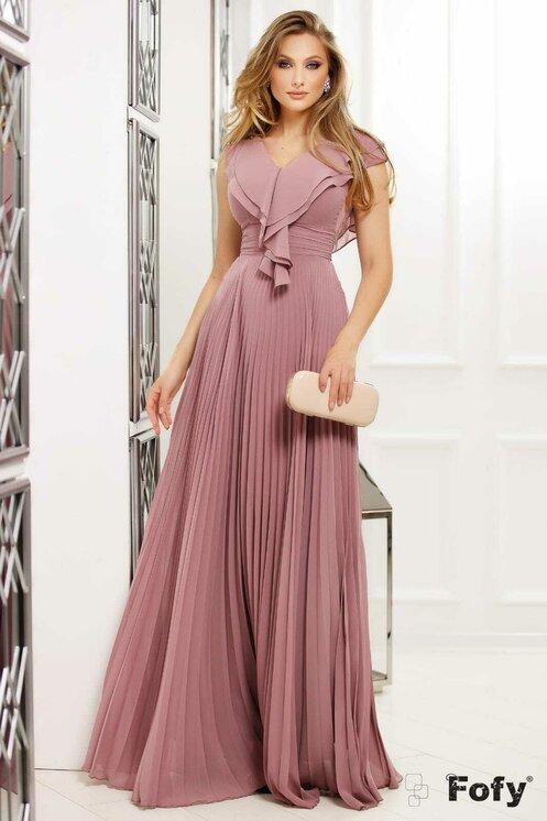 Rochie lunga roz pudrat cu volanase de seara