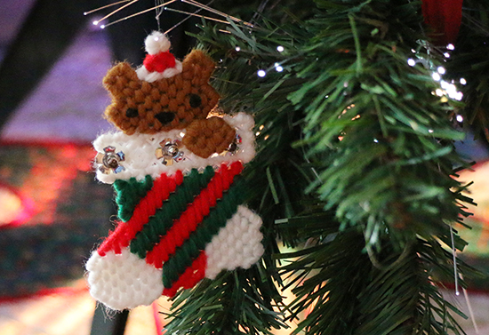 Teddy Bear in a Stocking Plastic Canvas Christmas Ornament on a Tree