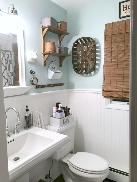 Master Bathroom Renovation with white subway tile and dark grout