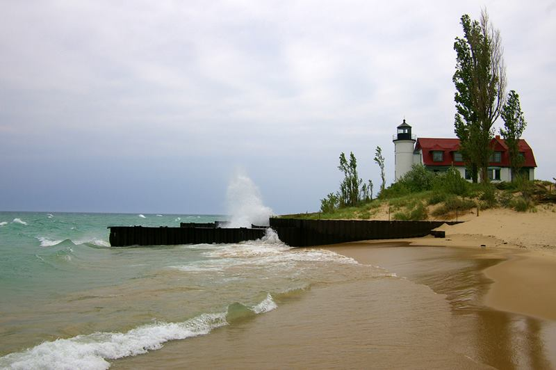 Point Betsie lighthouse standing on dune of the northeast shore of Lake Michigan, at the southern entrance to the Manitou Passage, north of Frankfort in Benzie County in Northern Michigan.