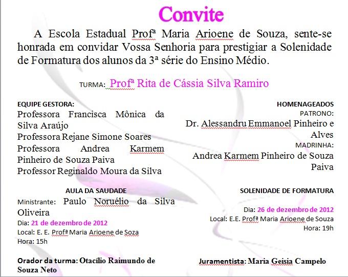 TIA MÔNICA ARAÚJO: Convite de Formatura dos Concluintes 2012