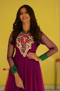 Actress Pooja Jhaveri Latest Stills in Purple Salwar Kameezt at Dwaraka Success Meet  0066.JPG