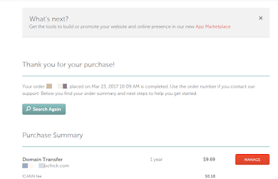 namecheap domain transfer payment successful