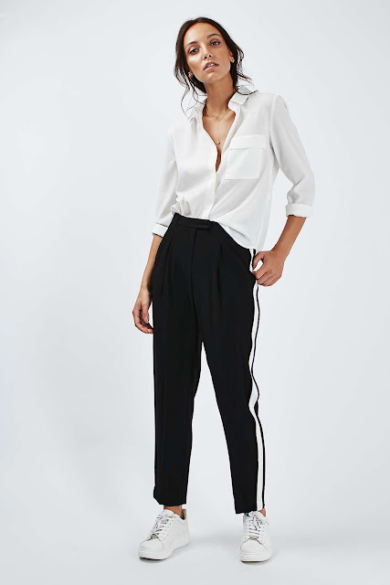 Topshop Side Stripe Peg Trousers