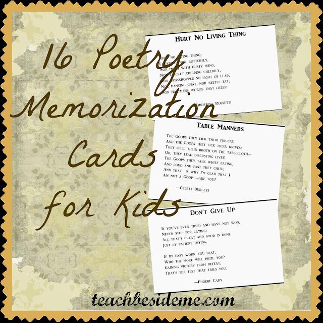 poetry memorization cards