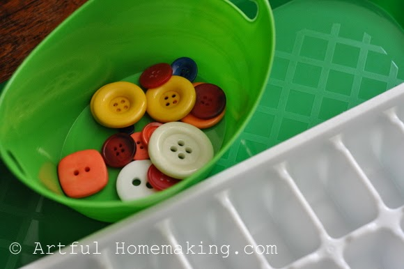 Fine Motor Coordination: Keeping Little Ones Hands Busy. Sorting buttons