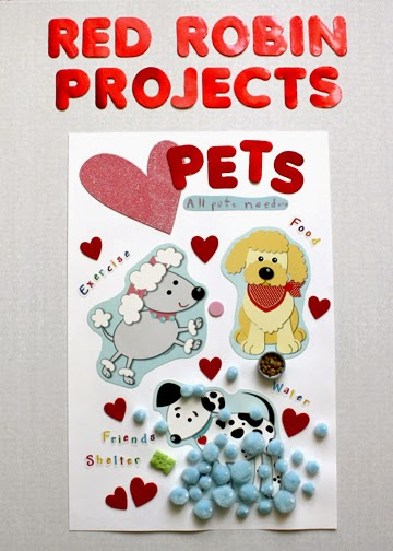 """Tessa's completed Red Robin Project poster reads, """"Love Pets: All pets need...exercise, food, friends, shelter, water."""" We had a bunch of extra dog cutouts left over, so we attached heart suckers and a synopsis of Tessa's poster to them and then handed them out at the troop meeting. (I created a presentation board for the girls to display their posters on and had wanted to take pictures of all of their posters, but I was so busy that day that I forgot.)"""