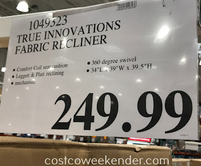 Deal for the True Innovations Fabric Swivel Glider Recliner Chair at Costco