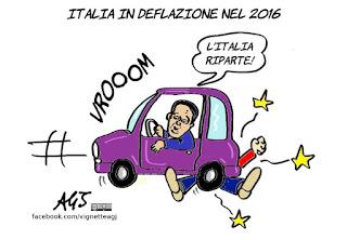 deflazione, economia, italia riparte, renzi, vignetta, satira