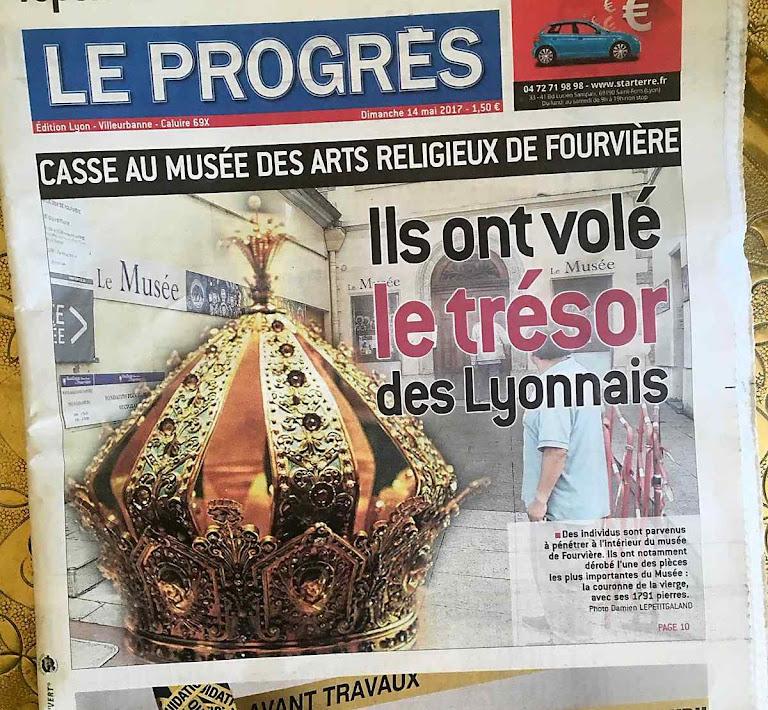 Principal jornal de Lyon noticia o furto sacrílego da coroa de Nossa Senhora de Fourvière.