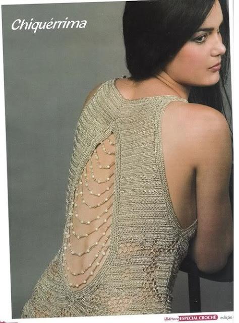 Top Crochet con Espalda Abalorios