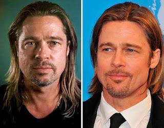 fotos de famosos antes e depois da maquiagem - brad pitt