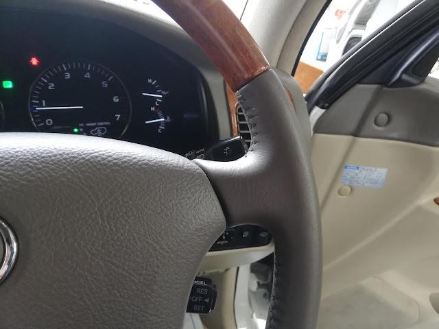 自動車内装修理#234 トヨタ/ランドクルーザー ウッドコンビハンドルの劣化・擦れ・破れ補修2
