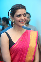 Kajal Aggarwal in Red Saree Sleeveless Black Blouse Choli at Santosham awards 2017 curtain raiser press meet 02.08.2017 019.JPG