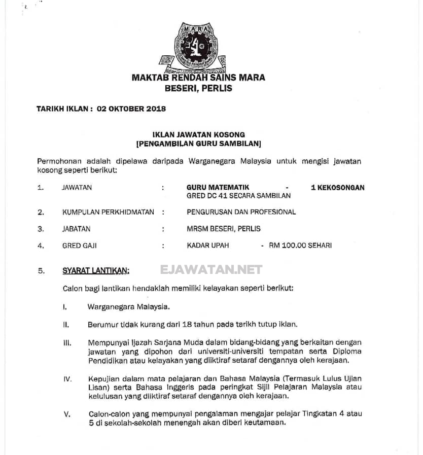 Maktab Rendah Sains Mara Mrsm 12 Oktober 2018 Jawatan Kosong 2020