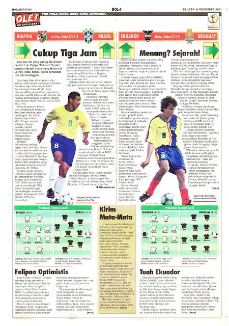 PRA-PIALA DUNIA 2002 ZONA CONMEBOL BOLIVIA VS BRASIL