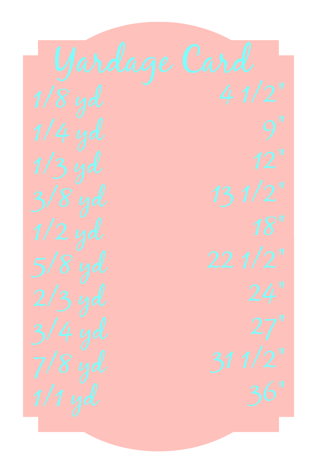 Fabric Yardage Chart