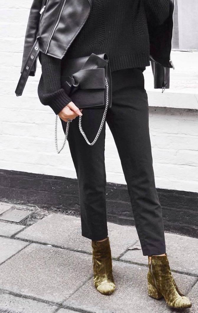 street style addiction / velvet boots + pants + bag + moto jacket + knit sweater