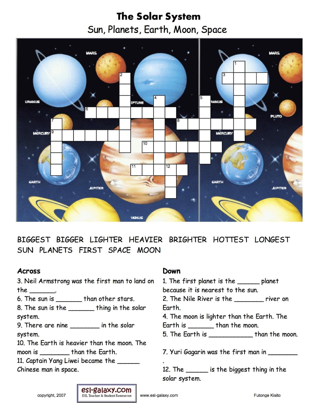 solar system crossword worksheet - photo #13