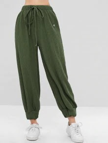 ZAFUL Drawstring Ribbed Jogger Pants - Fern Green L