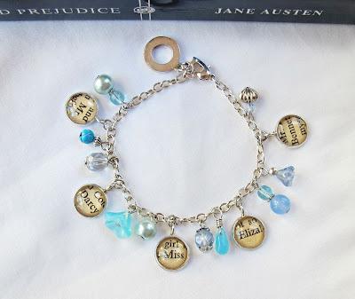 two cheeky monkeys blue charm bracelet pride and prejudice jane austen