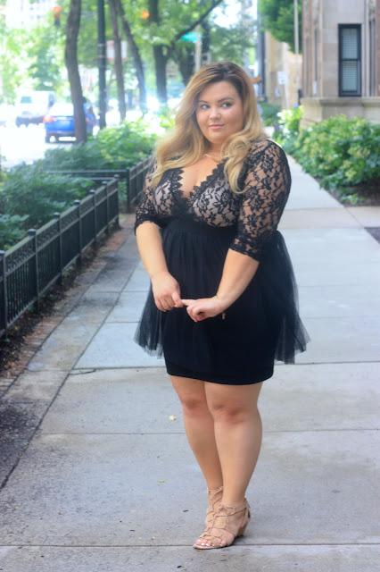dresslily review, dresslily, plunging neckline, plus size fashion, positive body image, fashion, bold plus size fashion, natalie craig, chicago, midwest blogger, chicago fashion blogger, lace dress, tulle dress, confidence and curves
