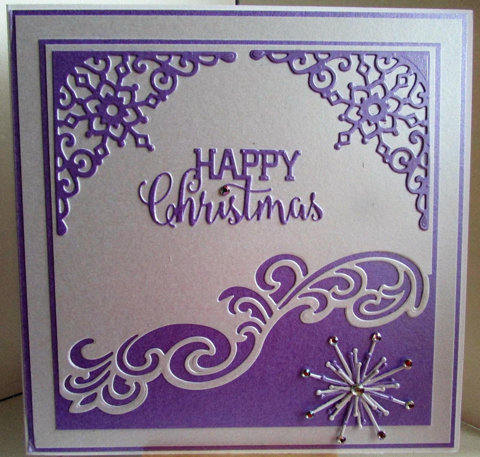 Lizzies craft space: Die cut christmas card - Purple