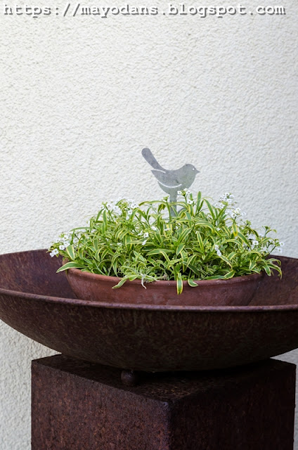 Rostsäule mit Pflanzen