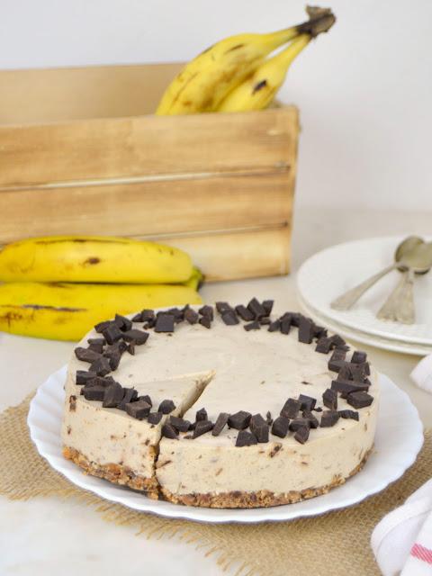 Tarta fría de plátano y chocolate sin horno