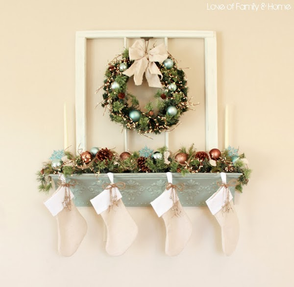 Remodelaholic How To Hang Stockings Without A Mantel Vintage Whites Blog: 4 Ways To Hang Stockings Without A Mantel