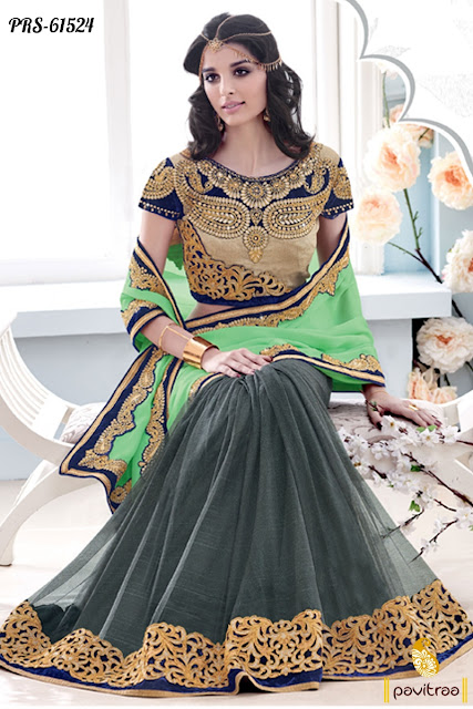 grey green color satin designer saree collection online shopping with discount offer sale and deal at pavitraa.in