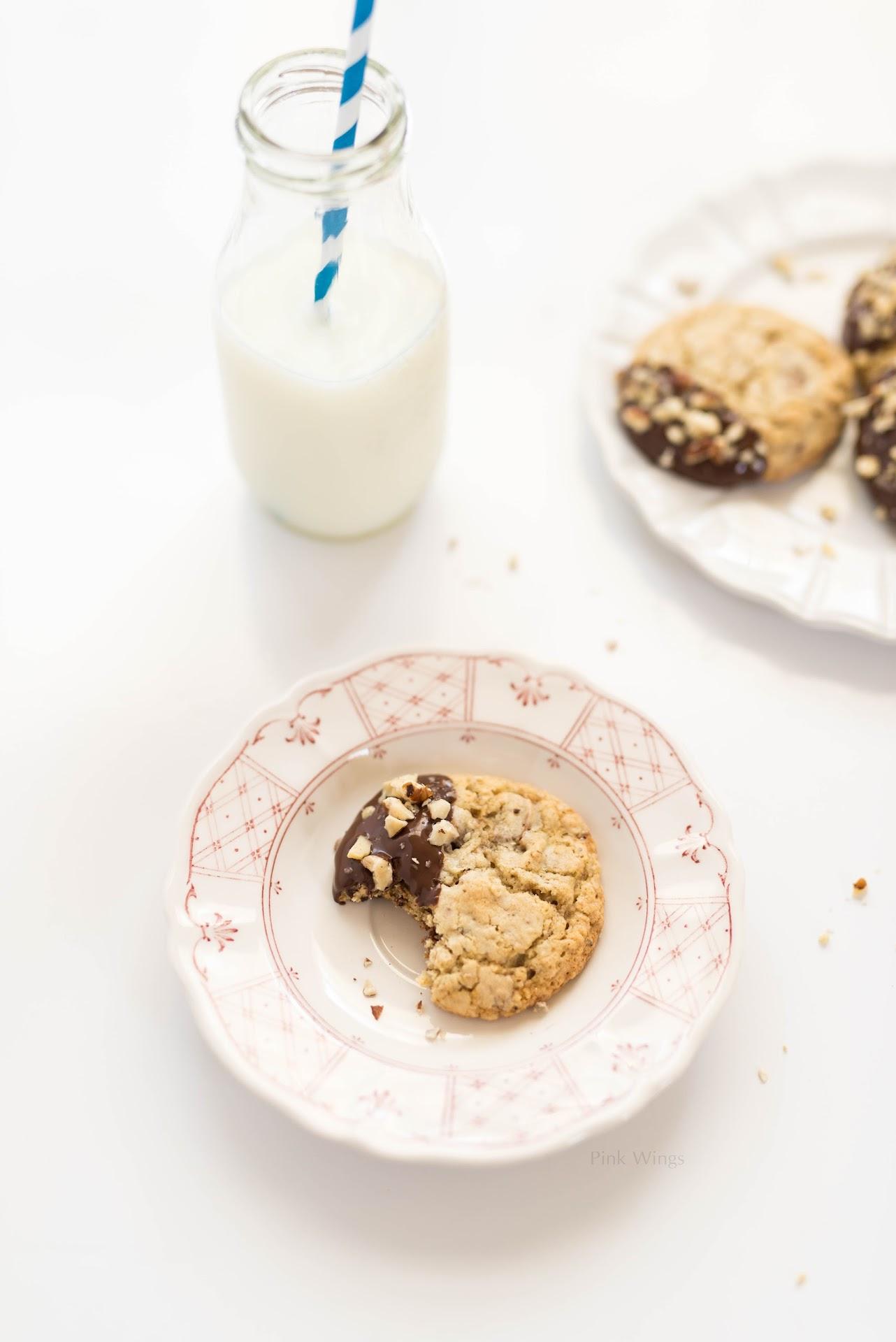 milk jars cups glasses bottles, milk and cookies photography, dipped chocolate cookies, hazelnut dessert