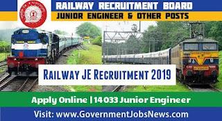 Railway JE Recruitment 2019 Apply apply 14033 Junior Engineer